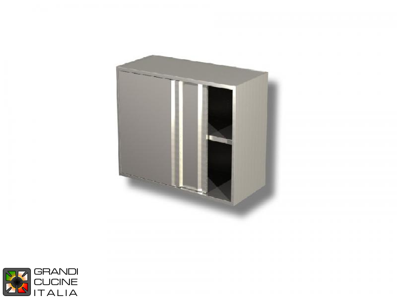 Stainless Steel Hanging Cabinet with Sliding Doors - AISI 430 - Length 150 Cm - Height 80 Cm - 2 Shelves