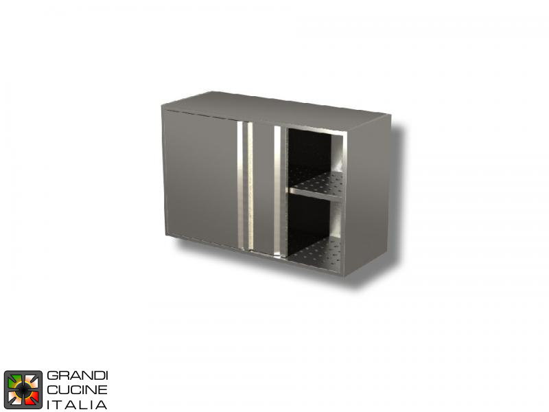 Stainless Steel Hanging Cabinet with Sliding Doors and Draining Shelves - AISI 430 - Length 100 Cm - Height 65 Cm - 2 Shelves
