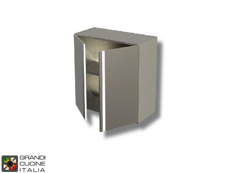 Cassettiera Larghezza 50 Cm.Pensile In Acciaio Inox Con Porta Battente Aisi 304 Larghezza 50