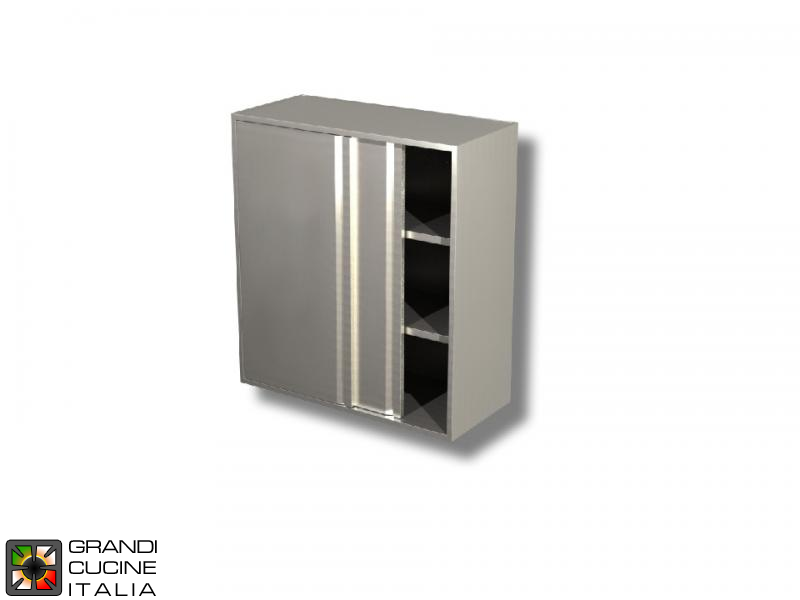 Stainless Steel Hanging Cabinet with Sliding Doors - AISI 430 - Length 100 Cm - Height 100 Cm - 3 Shelves