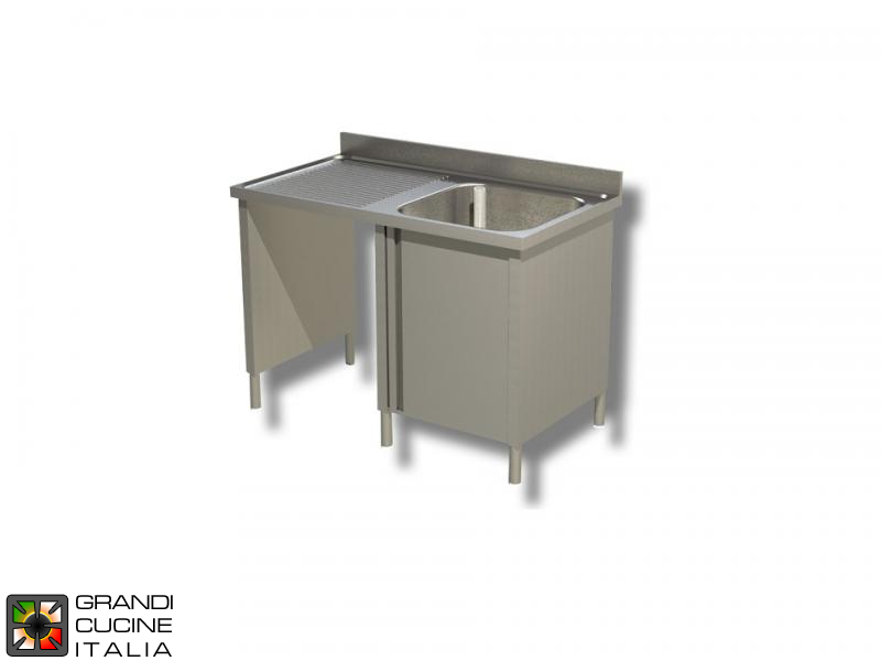 Cabinet Sink Unit with Hollow Dustbin - Hinged Door - AISI 430 - Length 140 Cm - Width 70 Cm - Left Drainer - Single Basin - Bottom Shelf
