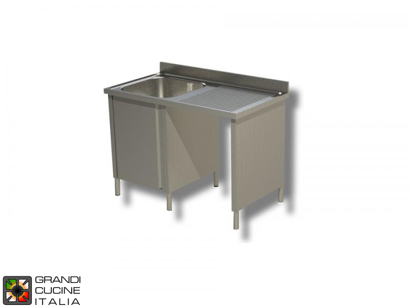 Cabinet Sink Unit with Hollow Dustbin - Hinged Door - AISI 430 - Length 140 Cm - Width 70 Cm - Right Drainer - Single Basin - Bottom Shelf