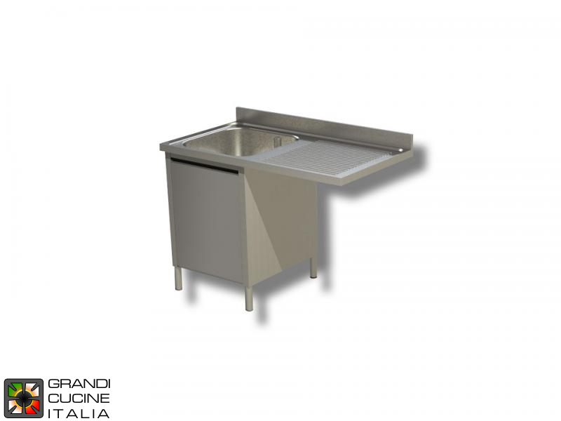 Cabinet Sink Unit with Dishwasher Hollow - Hinged Door - AISI 304 - Length 120 Cm - Width 70 Cm - Right Drainer - Single Basin - Bottom Shelf