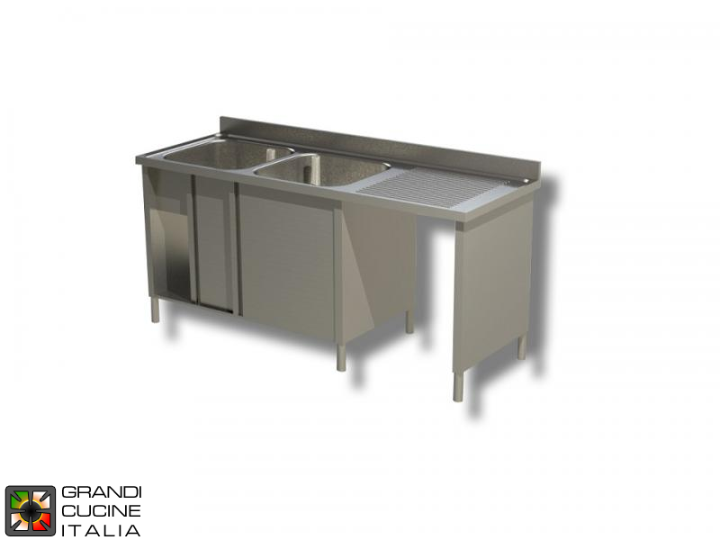 Cabinet Sink Unit with Hollow Dustbin - Sliding Doors - AISI 430 - Length 200 Cm - Width 70 Cm - Right Drainer - Double Basin - Bottom Shelf
