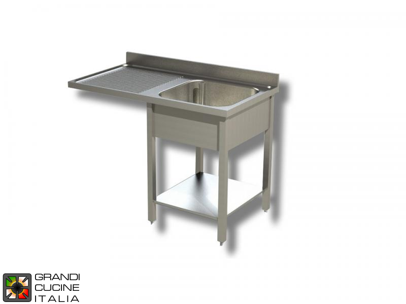 Sink Unit on Legs with Dishwasher Hollow - AISI 304 - Length 140 Cm - Width 70 Cm - Left Drainer - Single Basin - Bottom Shelf