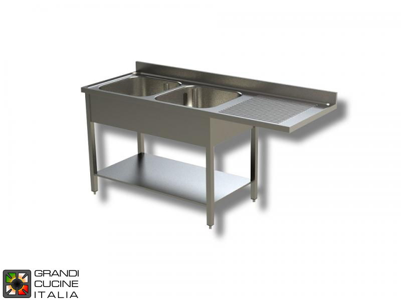 Sink Unit on Legs with Dishwasher Hollow - AISI 304 - Length 200 Cm - Width 70 Cm - Right Drainer - Double Basin - Bottom Shelf