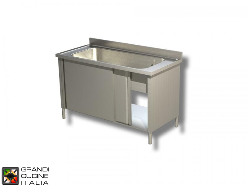 Cabinet Sink Unit with Cookware Basin - Sliding Doors - AISI 430 - Length 140 Cm - Width 70 Cm - Single Basin - Bottom Shelf