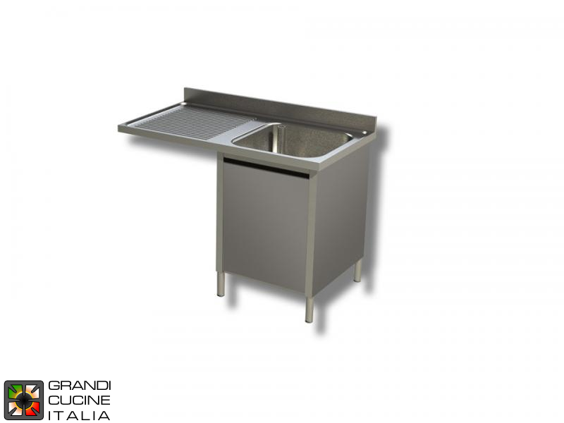 Cabinet Sink Unit with Dishwasher Hollow - Hinged Door - AISI 304 - Length 140 Cm - Width 70 Cm - Left Drainer - Single Basin - Bottom Shelf