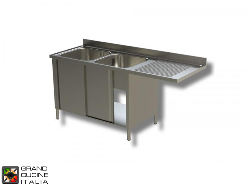 Cabinet Sink Unit with Dishwasher Hollow - Sliding Doors - AISI 304 - Length 160 Cm - Width 70 Cm - Right Drainer - Double Basin - Bottom Shelf