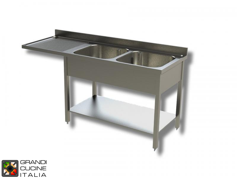 Sink Unit on Legs with Dishwasher Hollow - AISI 304 - Length 200 Cm - Width 70 Cm - Left Drainer - Double Basin - Bottom Shelf