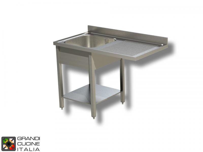 Sink Unit on Legs with Dishwasher Hollow - AISI 304 - Length 120 Cm - Width 70 Cm - Right Drainer - Single Basin - Bottom Shelf