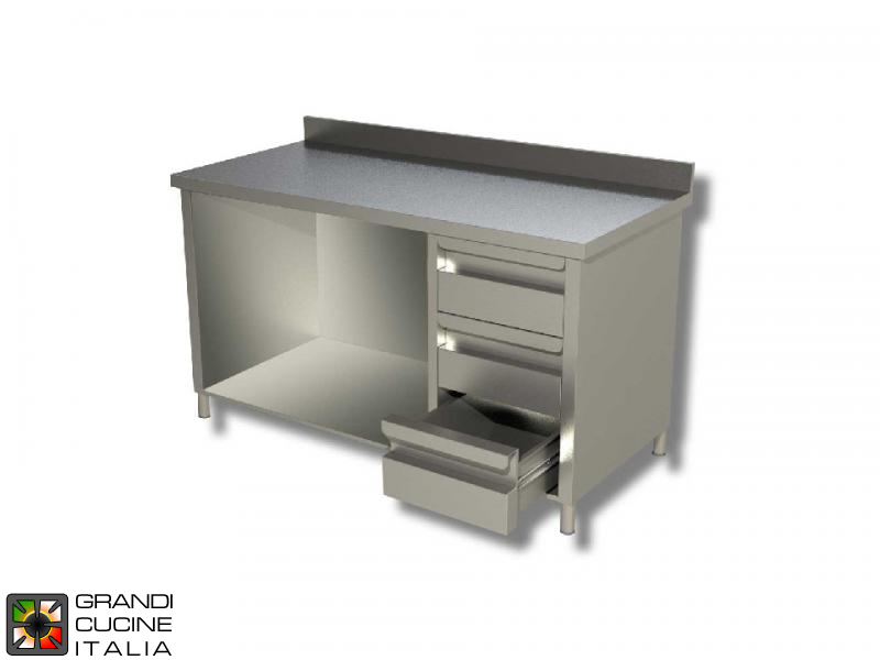 Stainless Steel Open Cabinet Work Table with Shelf and Right Side Drawers - AISI 430 - Length 200 Cm - Width 70 Cm - with Backsplash - 3 Drawers