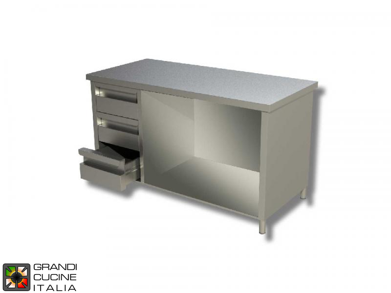 Stainless Steel Open Cabinet Work Table with Shelf and Left Side Drawers - AISI 430 - Length 100 Cm - Width 60 Cm - 3 Drawers