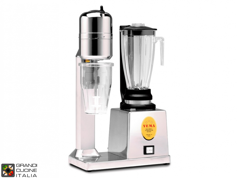 Mixer Blender and blender for milkshake - Capacity 1,2 + 0,8 liters - Transparent jug - Mixer Blender 2 speed