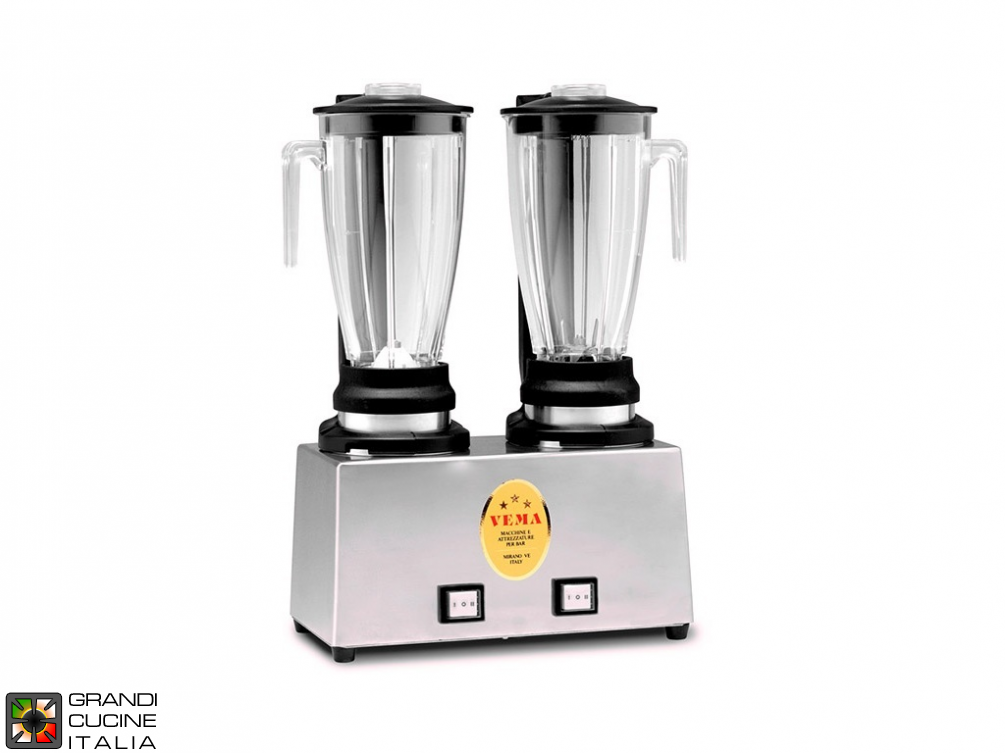 Mixer Blender double jug - A jug with blades and one with milkshake cone - Capacity  1,2+1,2 liters - Transparent jug - 2 speed