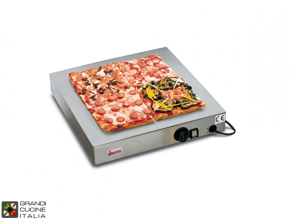 Stainless steel hot plate for pizza - mm 500x500 - 430W