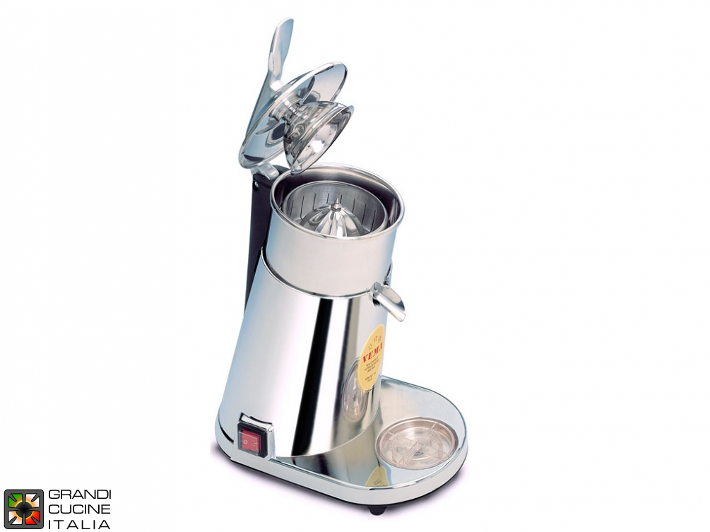 Automatic citrus squeezer metallized body, trasparent cone