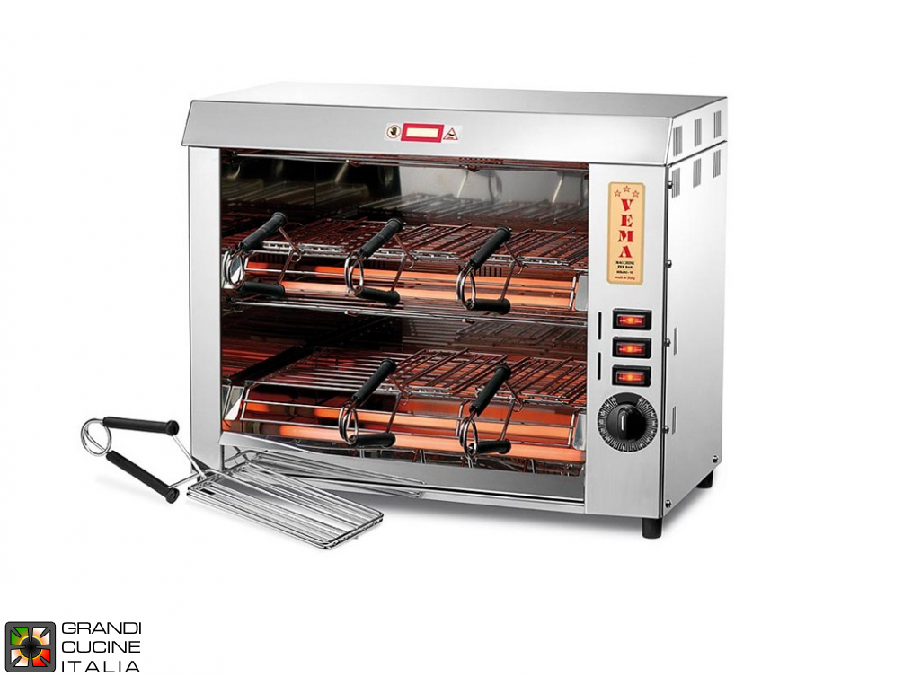 Double Toaster with 6 tongs with quartz infrared heating elements