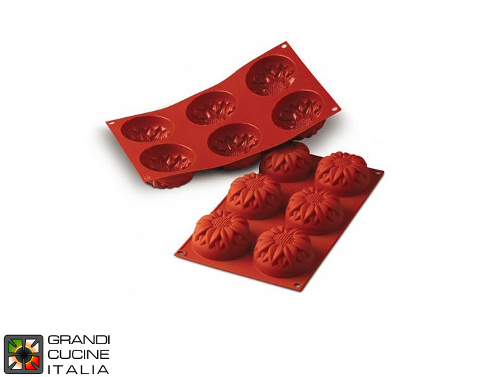 Stampo in silicone alimentare per N°6 Sunflower Ø76x40h mm - SF076