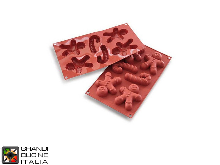 Stampo in silicone alimentare per Gingerbread Man 94,5x78x21h mm - SF106