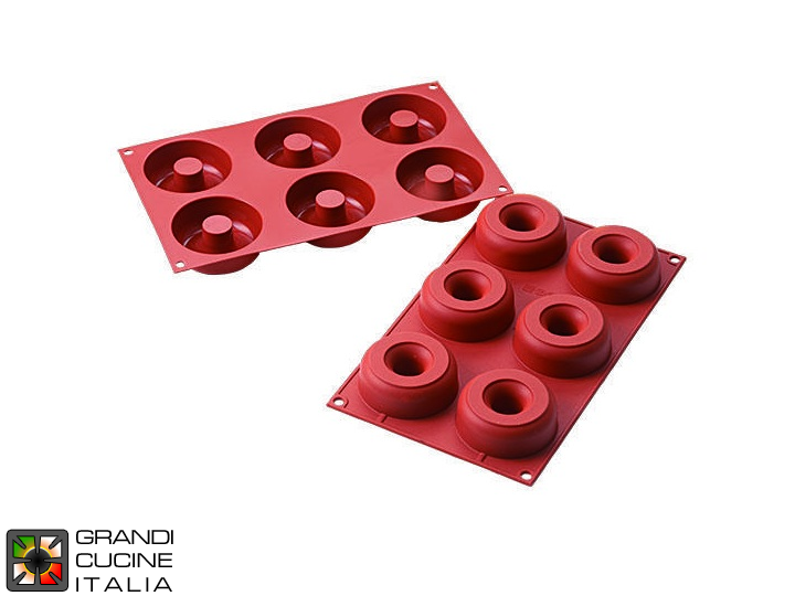 Stampo in silicone alimentare per N°6 Donuts Ø75x28h mm - SF170