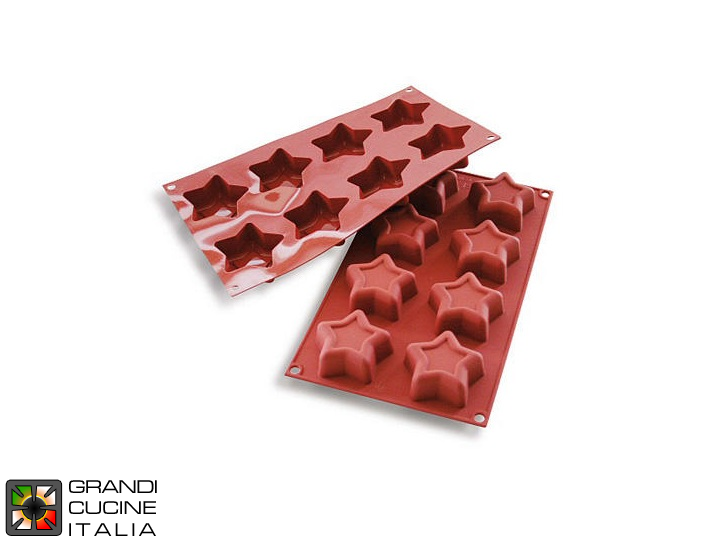 Stampo in silicone alimentare per N°8 Stelle Ø70  25h mm - SF107