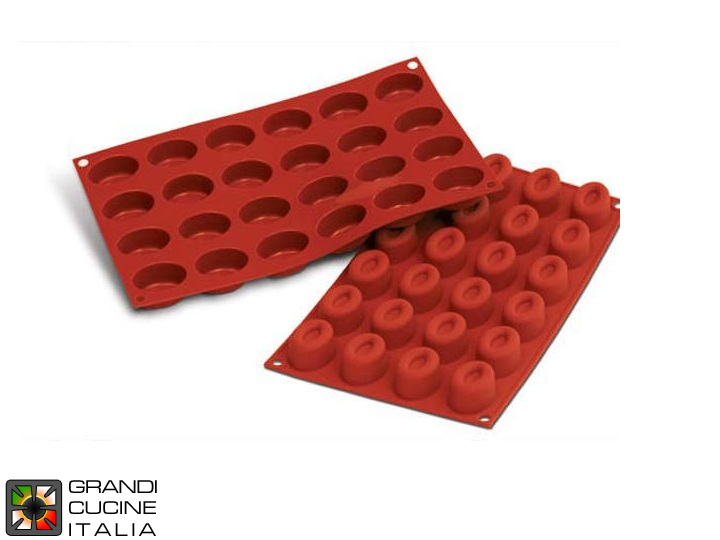 Stampo in silicone alimentare per N°24 Savarin Ovale 44x32 h 24.5 mm - SF083