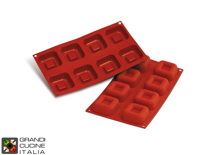 Stampo in silicone alimentare per N°8 Big Savarin Quadrati 62,5x62,5x25h mm - SF082