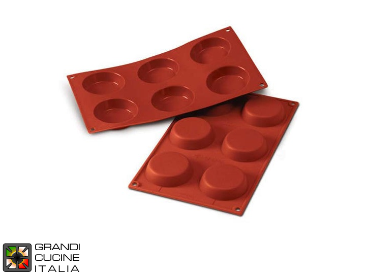 Stampo in silicone alimentare per N°6 Flan Ø70 h 17 mm - SF046