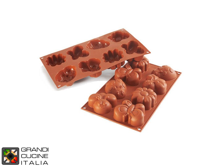 Stampo in silicone alimentare per N°8 Forme Springlife 77,5x57,5x32h mm - SF117