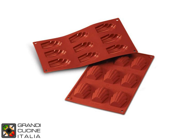 Stampo in silicone alimentare per N°9 Madelaines 68x45x17h mm - SF032