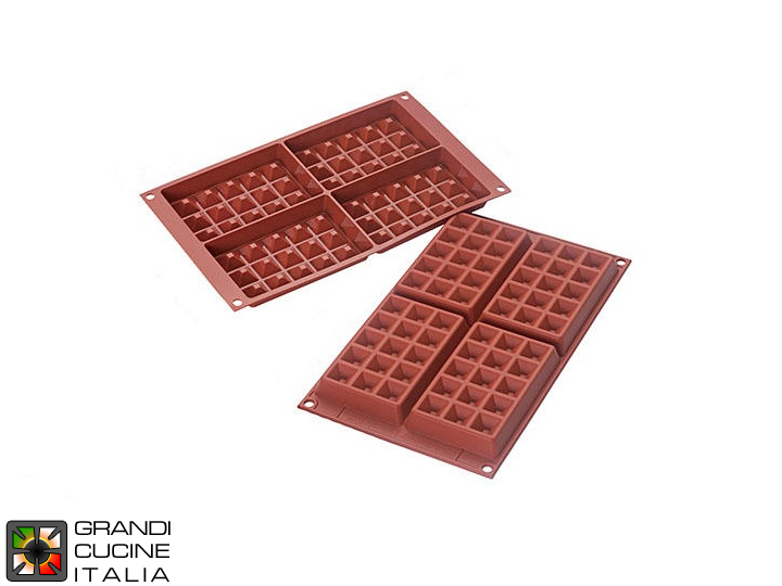 Stampo in silicone alimentare per N°4 Waffle Classic 130x81x17h mm - SF155