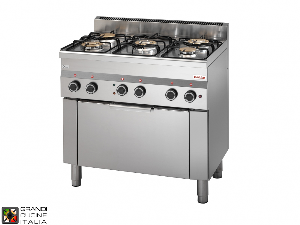 Gas range 5 burners with electric convection oven GN 1/1