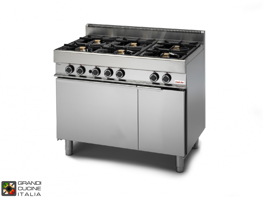 Gas range - 6 burners, electric convection oven - neutral cabinet