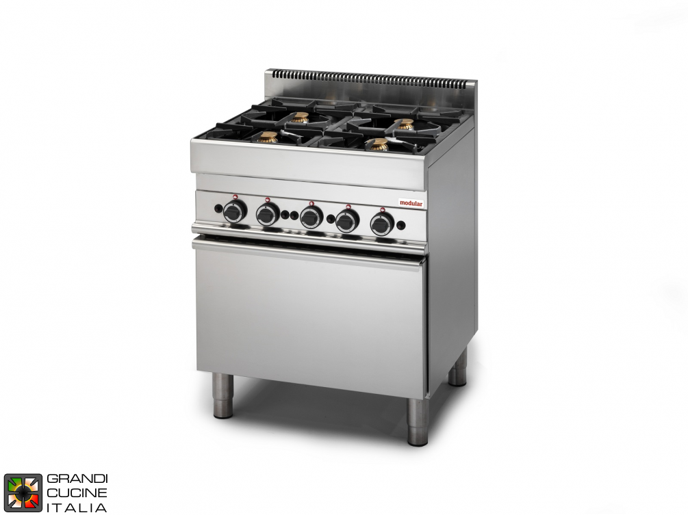 Gas range - 4 burners - electric convection oven
