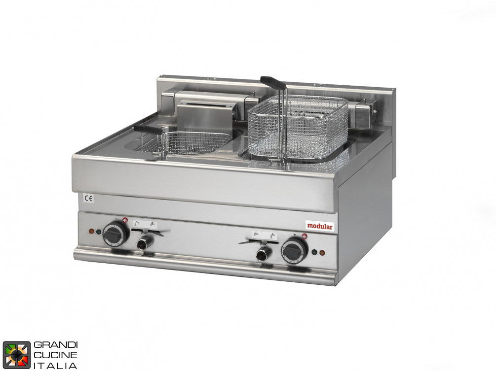 Electric fryer - 2 wells - 10+10  Lt. capacity
