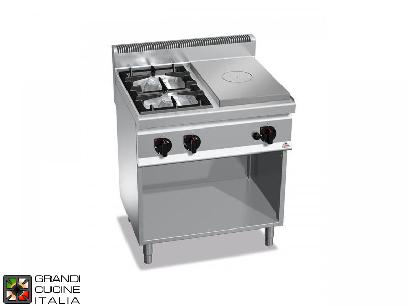 Gas Solid Top - 2 Burners - Open Cabinet