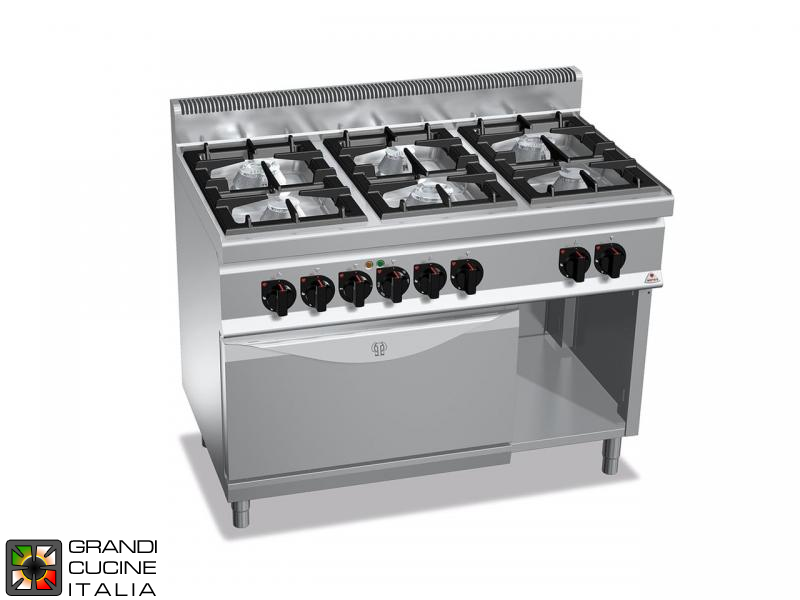 Gas Stove - 6 Burners - Static Electric Oven GN 2/1