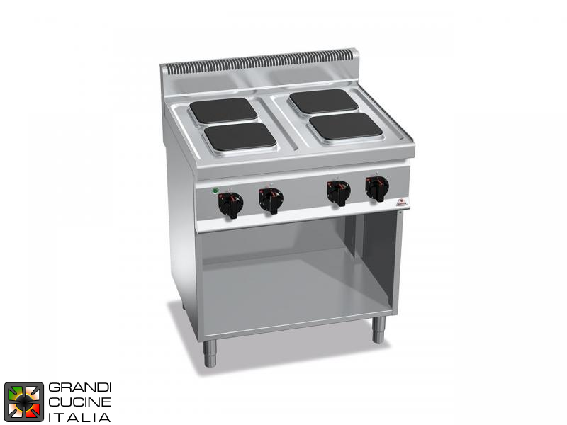 Electric Stove - 4  Square Plates - Open Cabinet