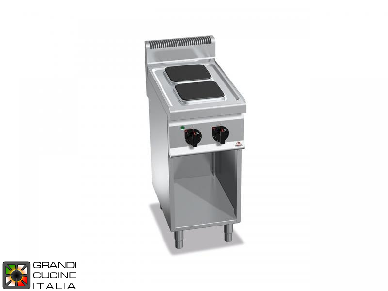 Electric Stove - 2  Square Plates - Open Cabinet