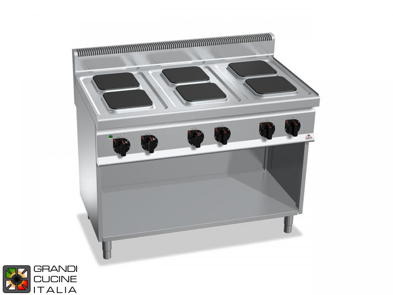 Electric Stove - 6  Square Plates - Open Cabinet