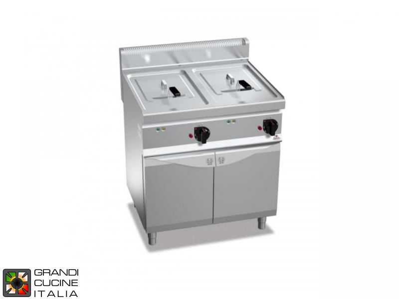 Electric Fryer - 2 Tanks - Open Cabinet - Direct Heating - Capacity 10+10 Liters