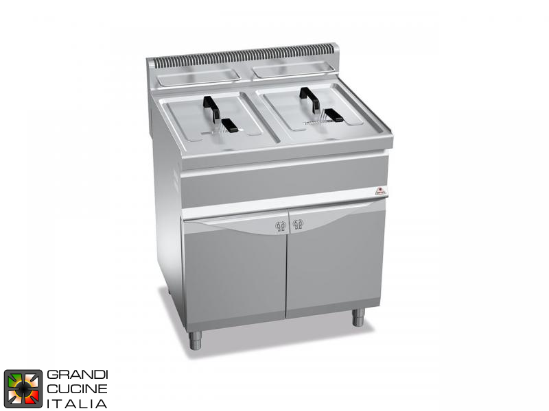 Gas Fryer - 2 Tanks - Open Cabinet - Direct Heating - Capacity 20+20 Liters