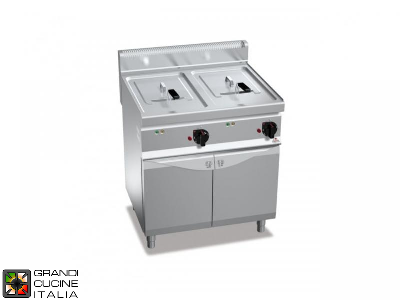 Electric Fryer - 2 Tanks - Open Cabinet - Direct Heating - Capacity 18+18 Liters