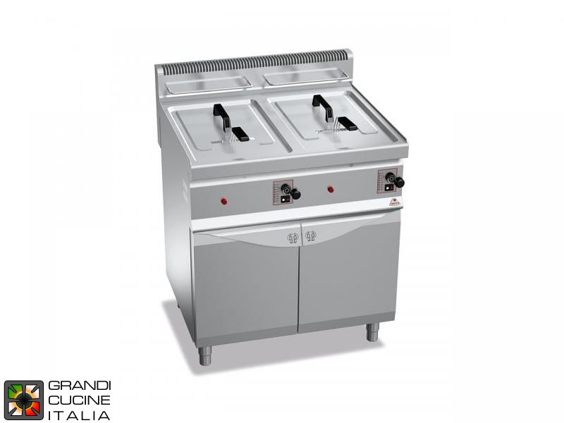 Gas Fryer - 2 Tanks - Open Cabinet - Direct Heating - Capacity 10+10 Liters