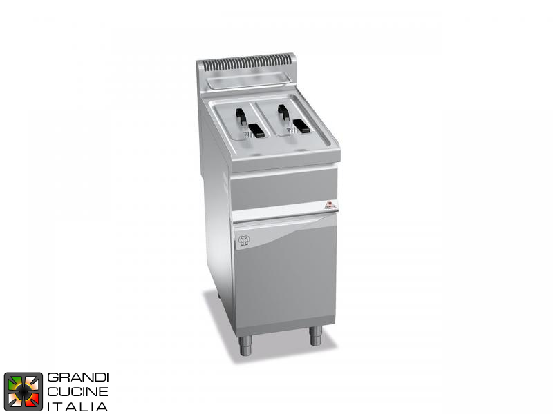 Gas Fryer - 2 Tanks - Open Cabinet - Direct Heating - Capacity 7+7 Liters