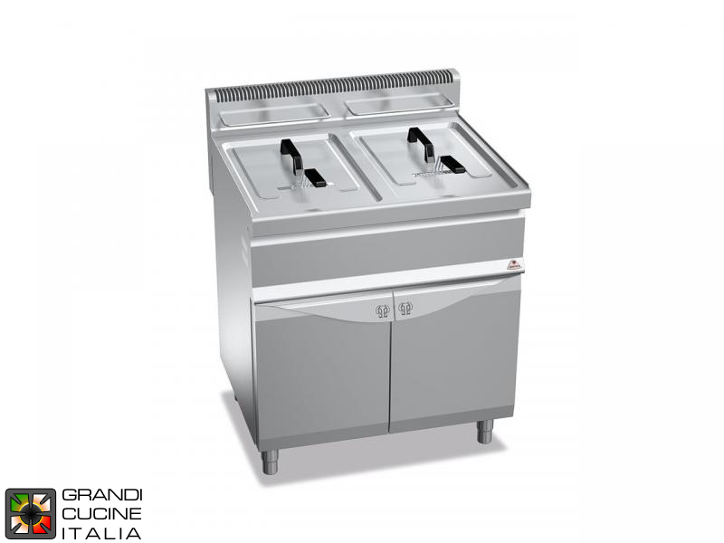 Gas Fryer - 2 Tanks - Open Cabinet - Direct Heating - Capacity 15+15 Liters