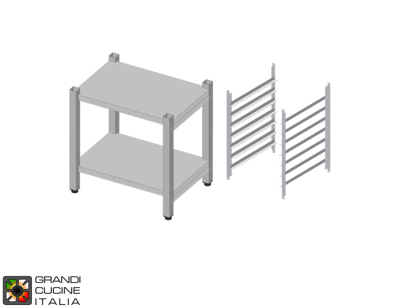 High Open Stand with Tray Holder Kit - N° 7 x GN 2/1 Capacity