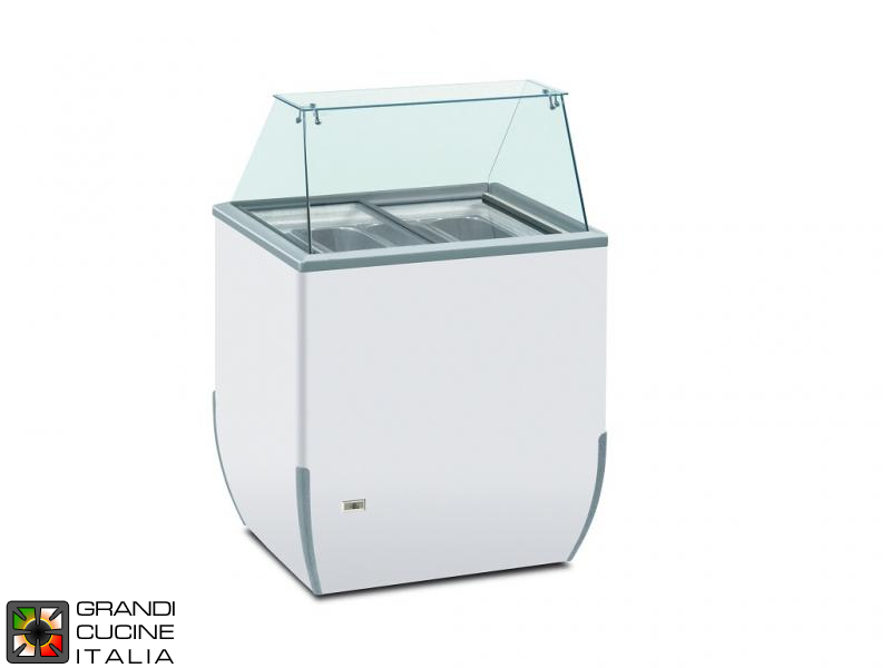Scoop Ice Cream Refrigerated Cabinet - Capacity N°4 Bins - Static Refrigeration - on Unidirectional Castors - White Color