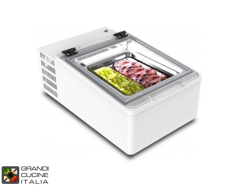Tabletop Scoop Ice Cream Showcase - Capacity N°2 Bins - Static Refrigeration - Tabletop - White Color - Led Illumination